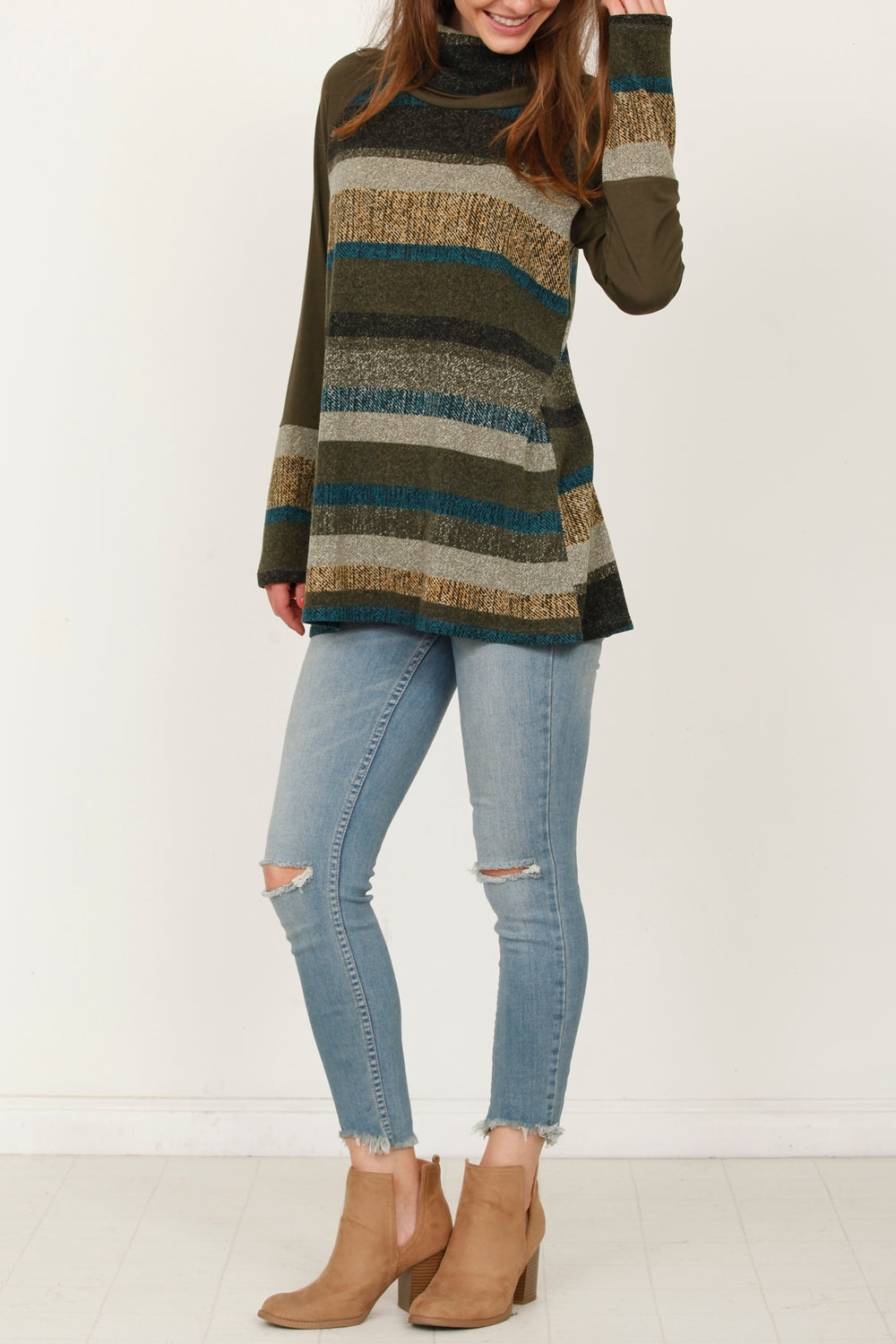 Olive Multi Stripe Cowl Neck Tunic_Plus