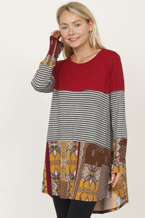 Burgundy & Multi Pattern Color Block Tunic