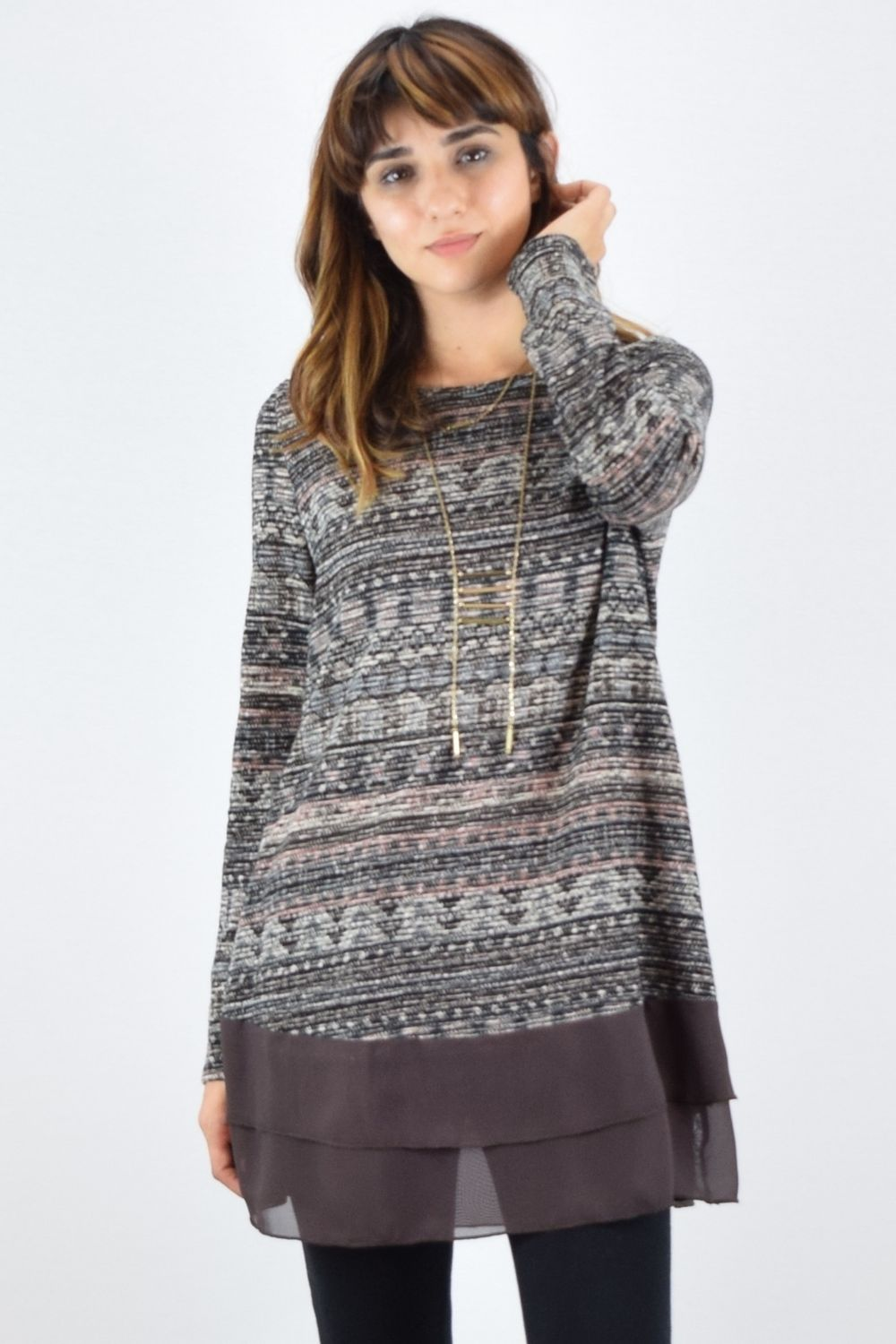 Brown Chiffon Multi Color Knit Tunic