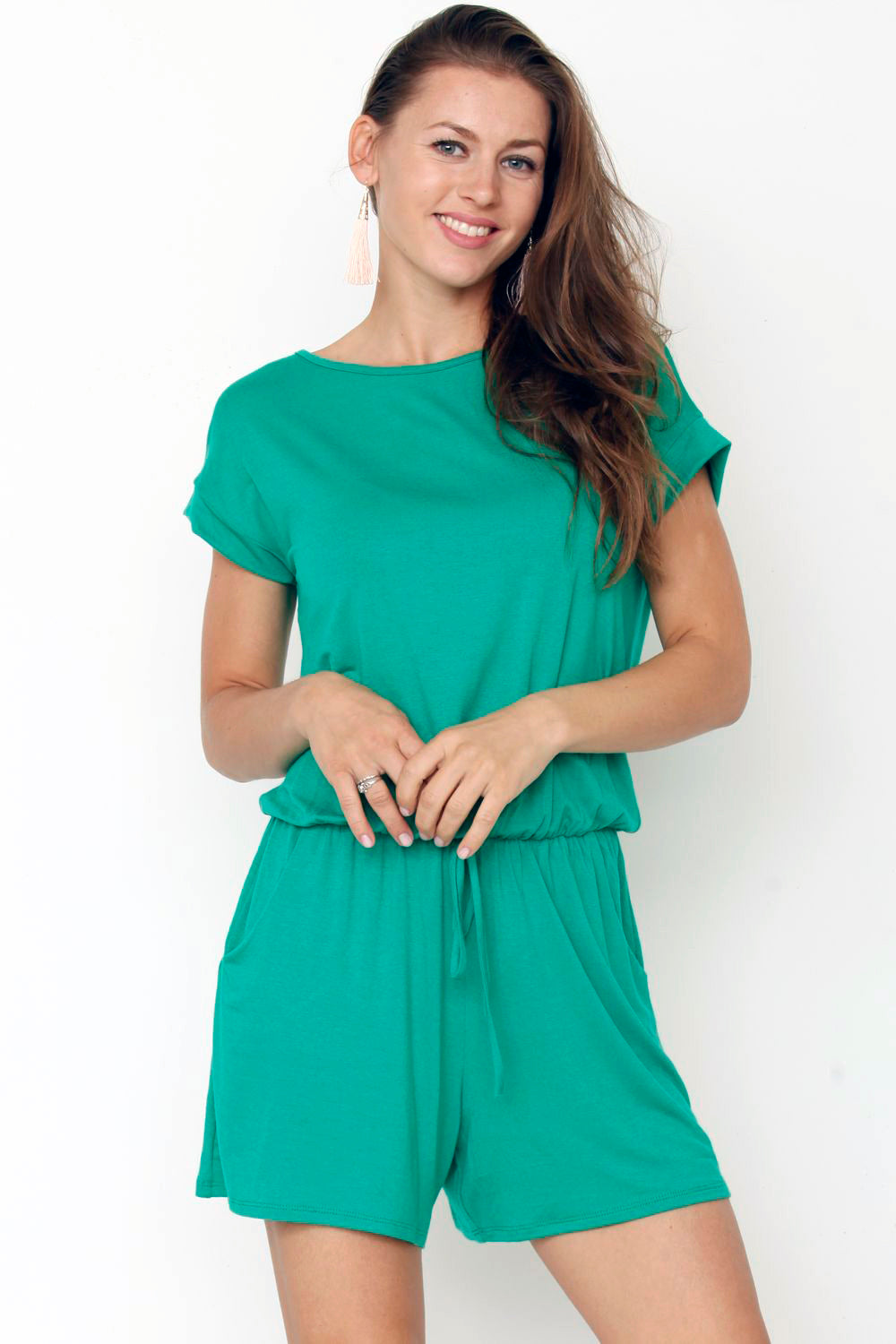 Solid Green Short Sleeve Romper