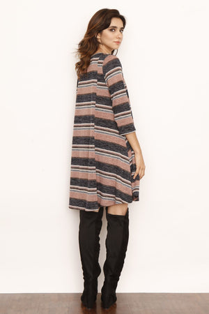 Pink & Charcoal Stripe A-Line Long Sleeve Mini Dress