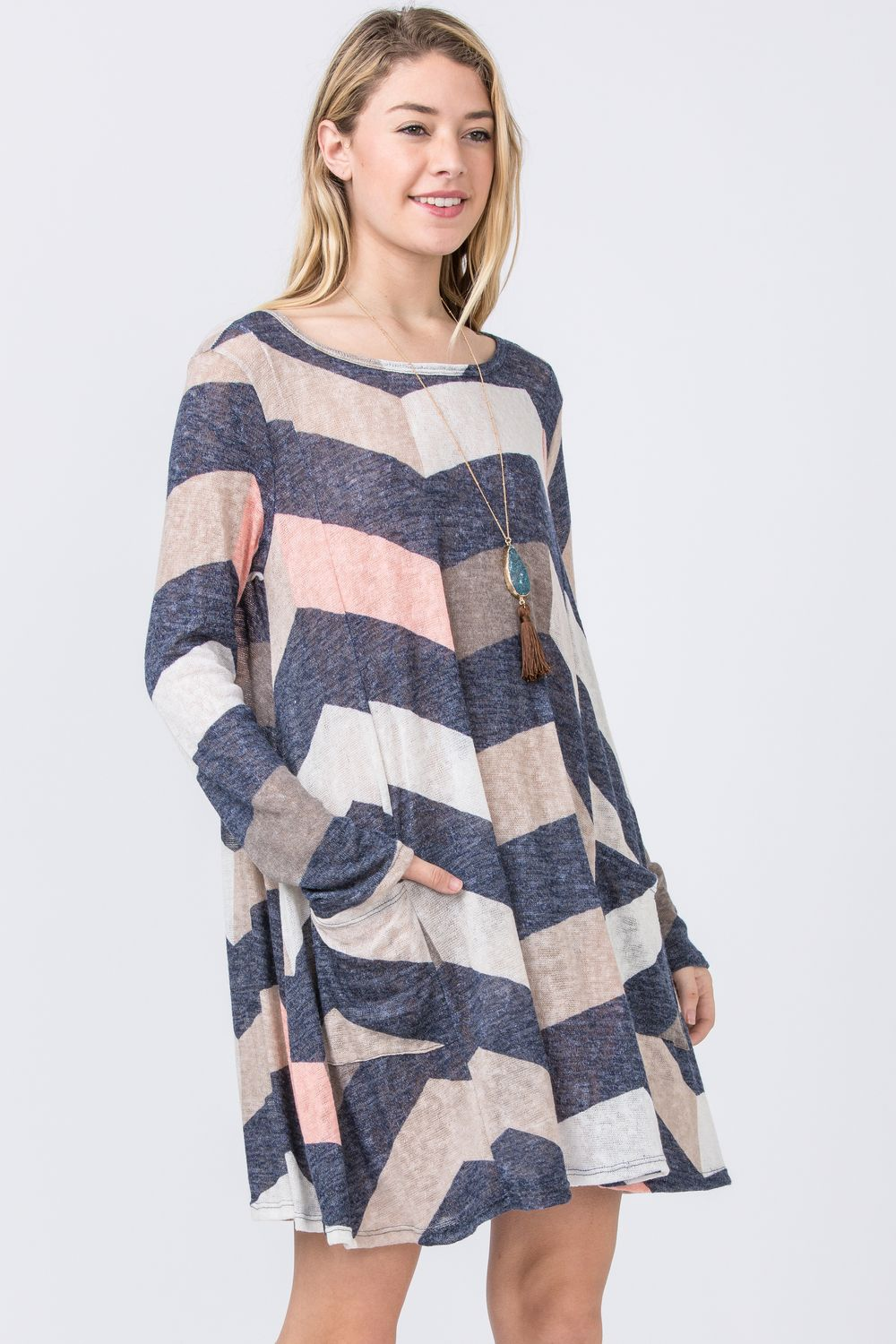Navy & Pink Chevron A-Line Long Sleeve Mini Dress_Plus