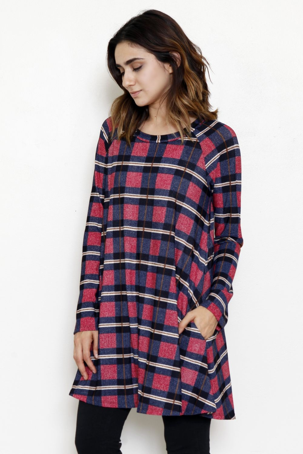 Navy Burgundy Plaid A Line Dress_M