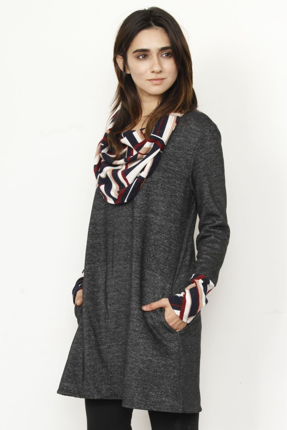 Wine Herringbone Cowl Neck Tunic Dress