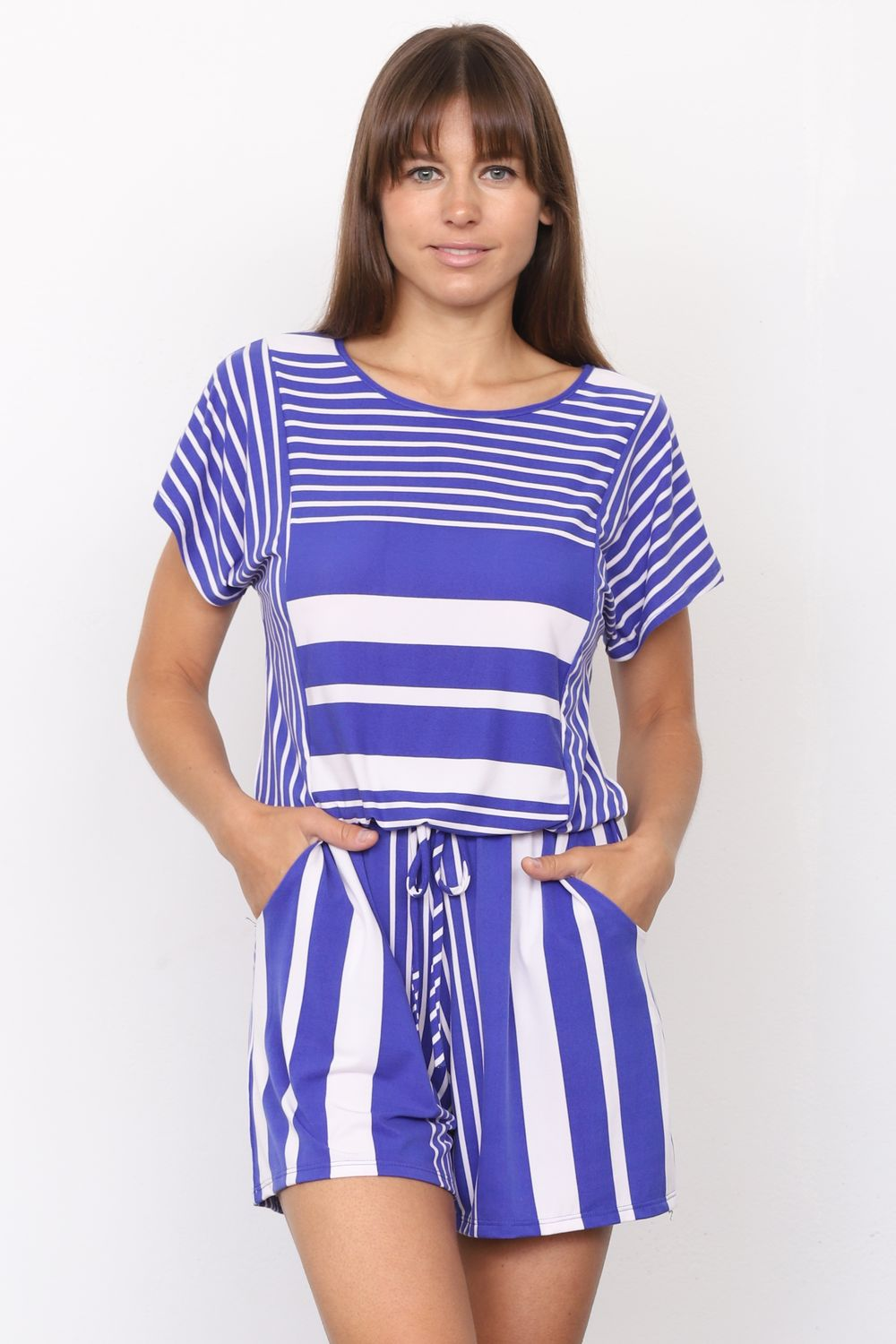 Royal Blue Multi Stripe Short Sleeve Romper