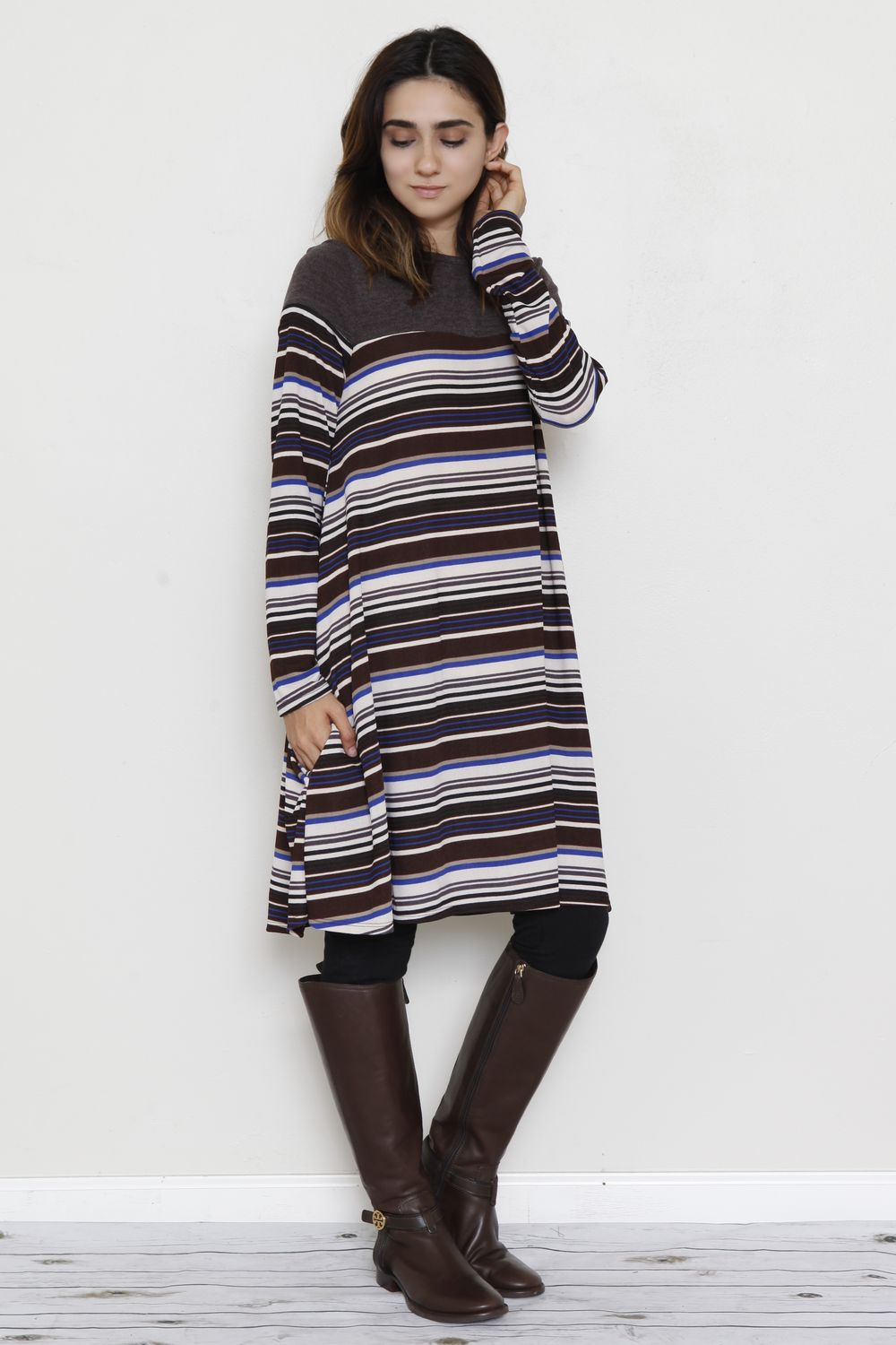 Brown & Blue Multi Stripe A-Line Dress