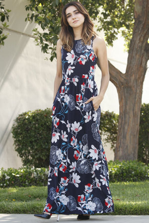 Navy & White Floral Sleeveless Maxi Dress