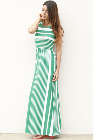 Green Multi Stripe Sleeveless Maxi Dress
