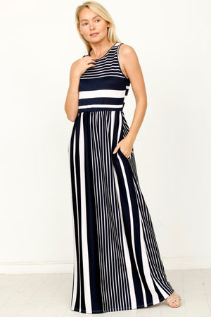 Navy Multi Stripe Sleeveless Maxi Dress