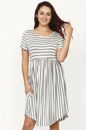 Grey Multi Stripe Curved Hem Midi Dress_Plus