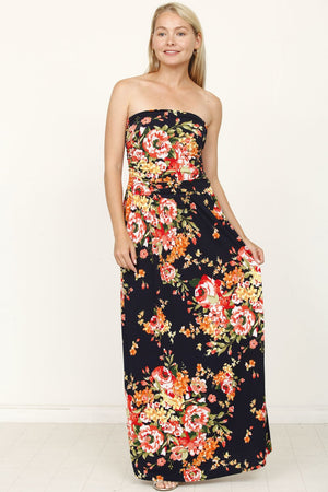 Navy & Coral Floral Tube Top Maxi Dress