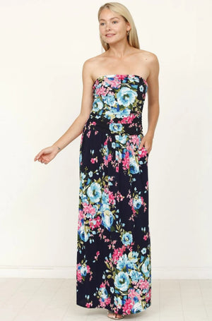 Navy Aqua Floral Tube Top Maxi Dress