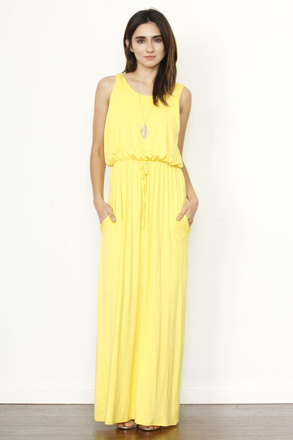 Solid Lemon Sleeveless Blouson Maxi Dress