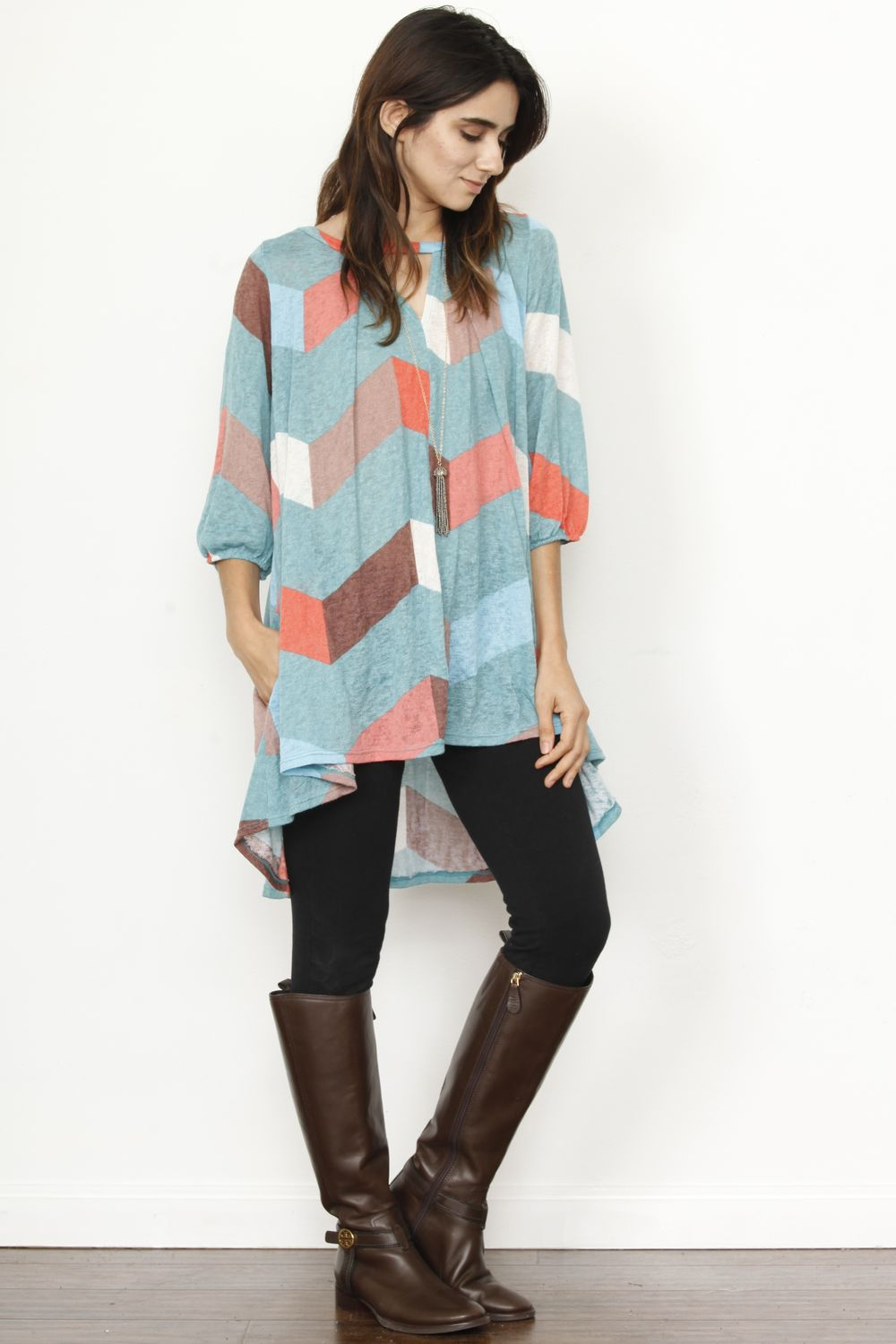 Mint Chevron Keyhole High Low Tunic