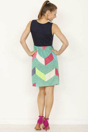 Navy Cyan Chevron Sleeveless Mini Dress