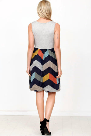 Grey Sleeveless Multi Color Chevron Mini Dress