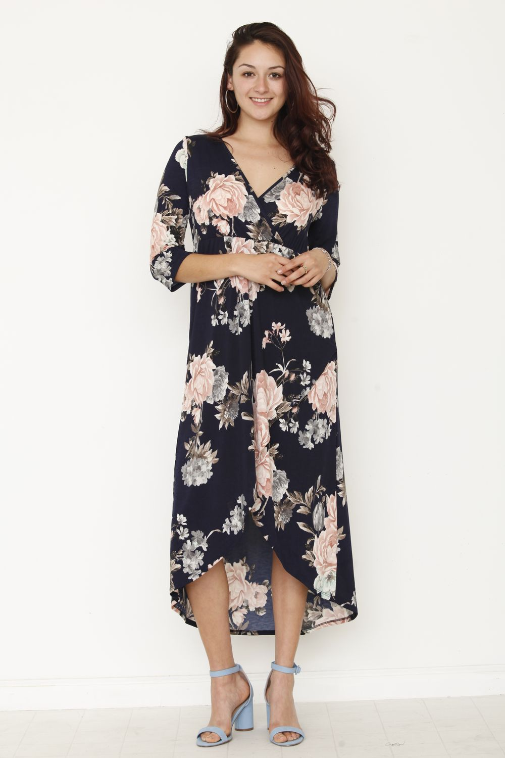 Navy & Pink Floral Surplice Tulip Hem High-Low Maxi Dress_Plus