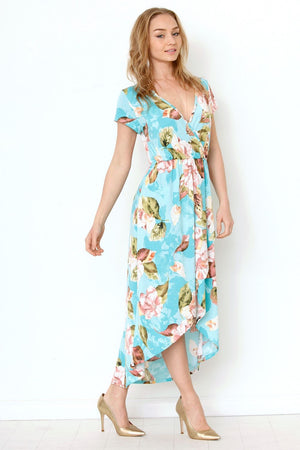 Aqua Floral Surplice Tulip Hem Maxi Dress