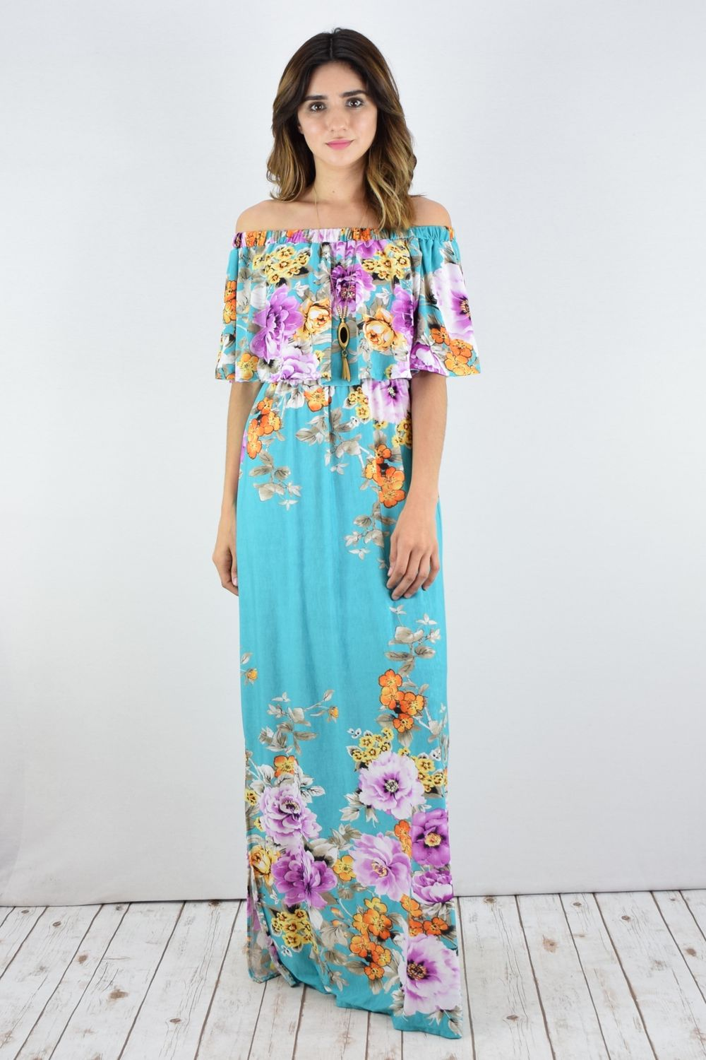 Aqua Floral Off Shoulder Ruffle Maxi Dress