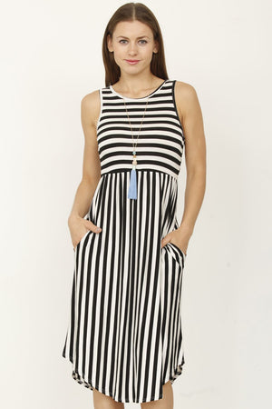Black Stripe Sleeveless Midi Dress