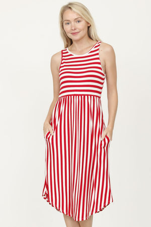 Red Stripe Sleeveless Midi Dress