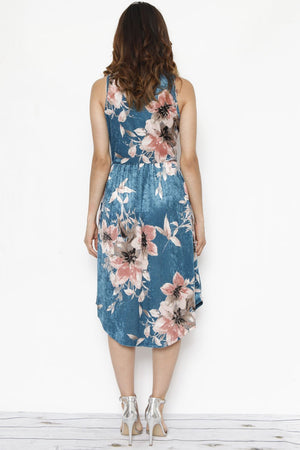 Teal Floral Velvet Sleeveless Midi Dress