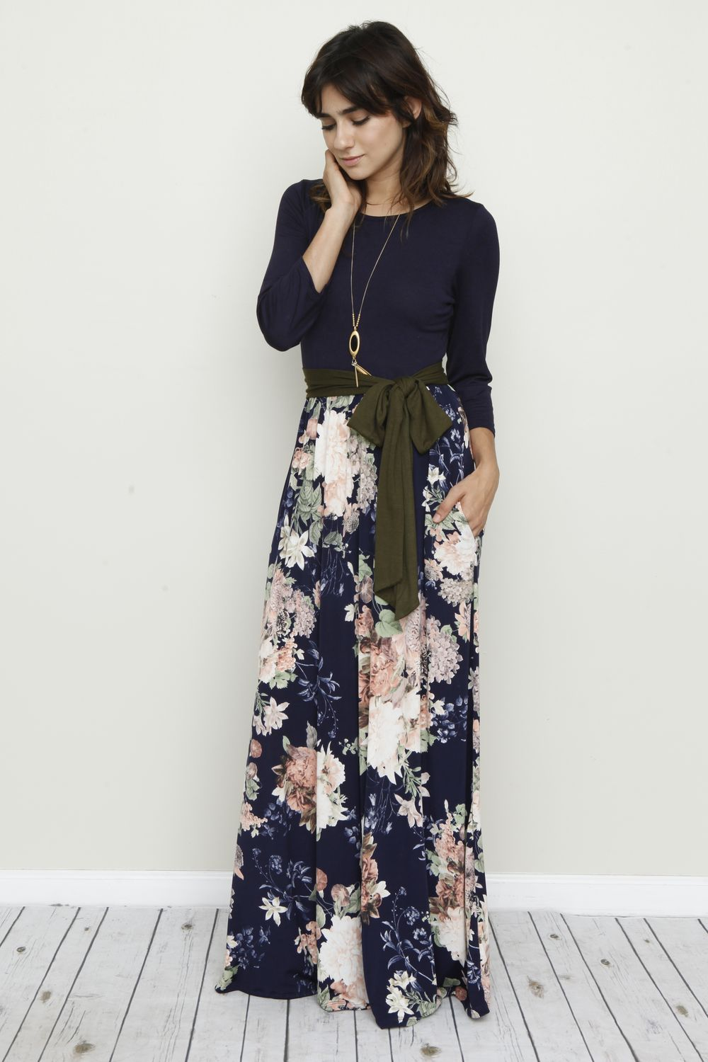 Navy Olive Green Sash Floral Maxi Dress