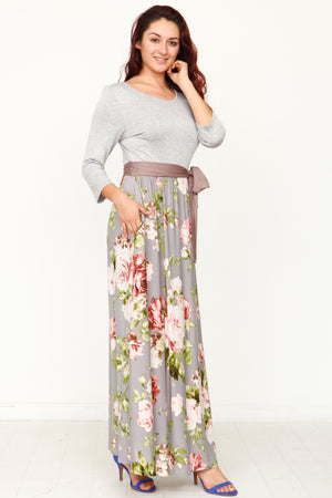 Grey Mocha Sash Floral Maxi Dress_Plus