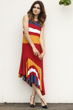 Red Asymmetric Sleeveless Midi Dress