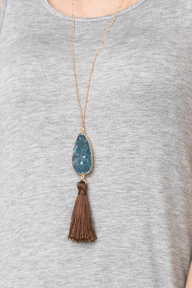 Aquamarine Druzy Necklace with Brown Tassel