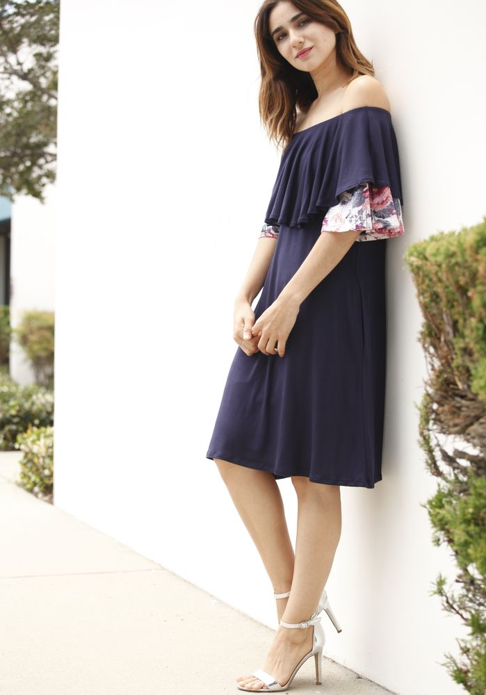 Navy & Floral Ruffle Off Shoulder Dress