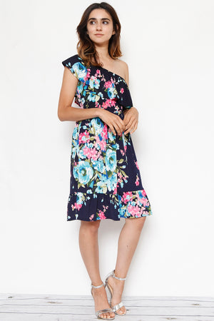 Navy Floral One Shoulder Ruffle Midi Dress