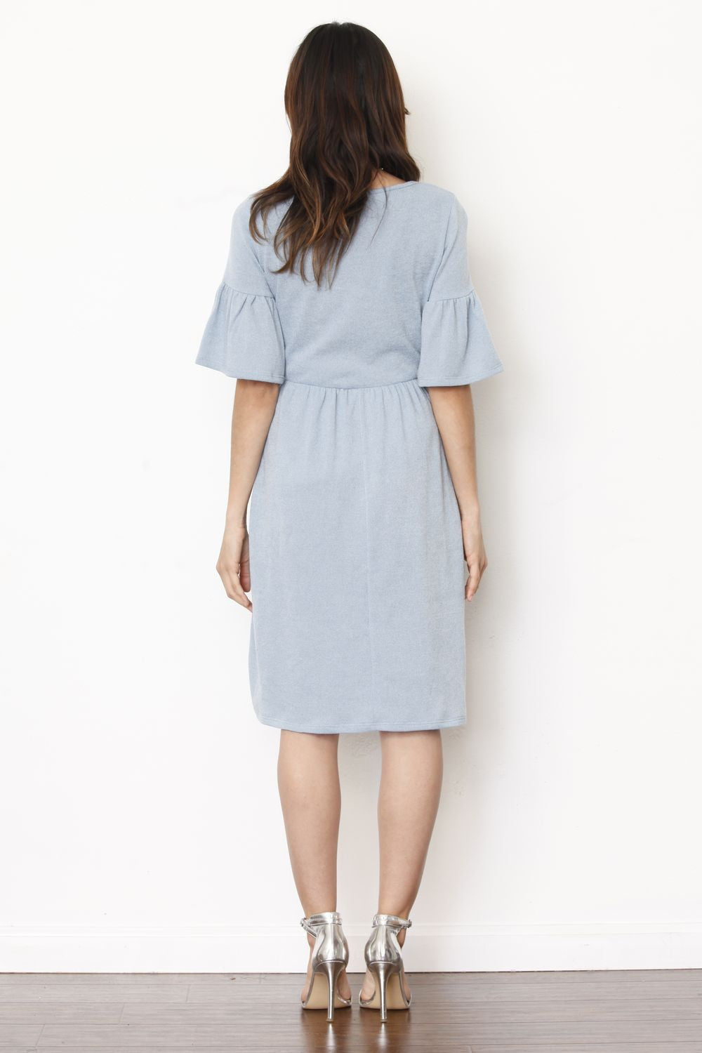 Baby Blue Bell Sleeve Laser Cut Scallop Hem Mini Dress