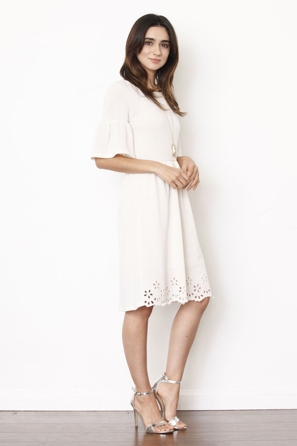 Ivory Bell Sleeve Laser Cut Scallop Hem Mini Dress