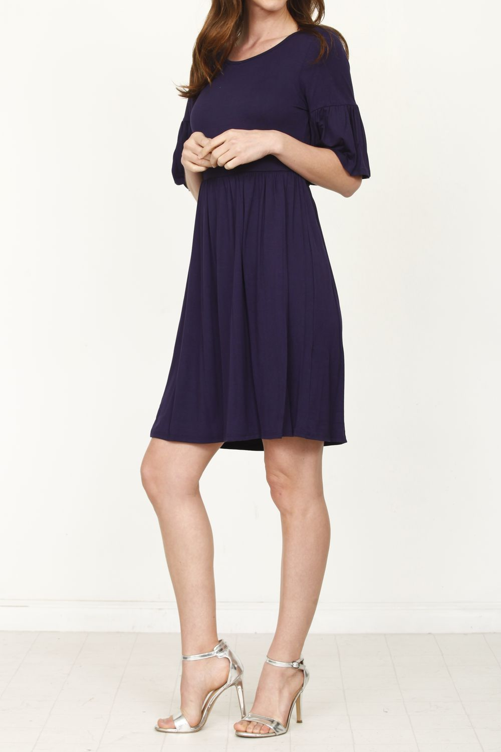 Solid Navy Ruffle Sleeve Mini Dress