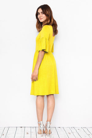 Solid Lemon Ruffle Sleeve Mini Dress