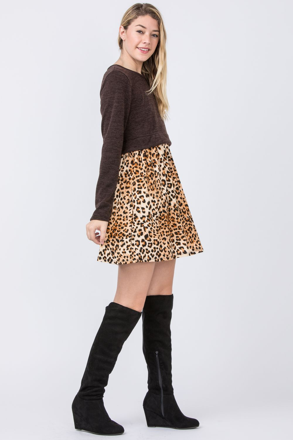 Leopard Pullover Mini Dress