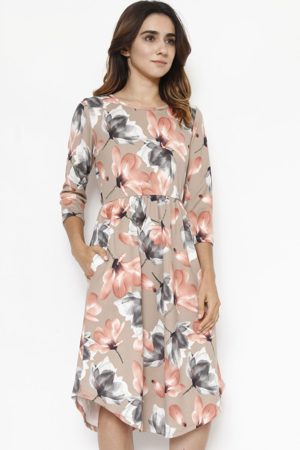 Beige & Coral Floral 3/4 Sleeve Midi Dress