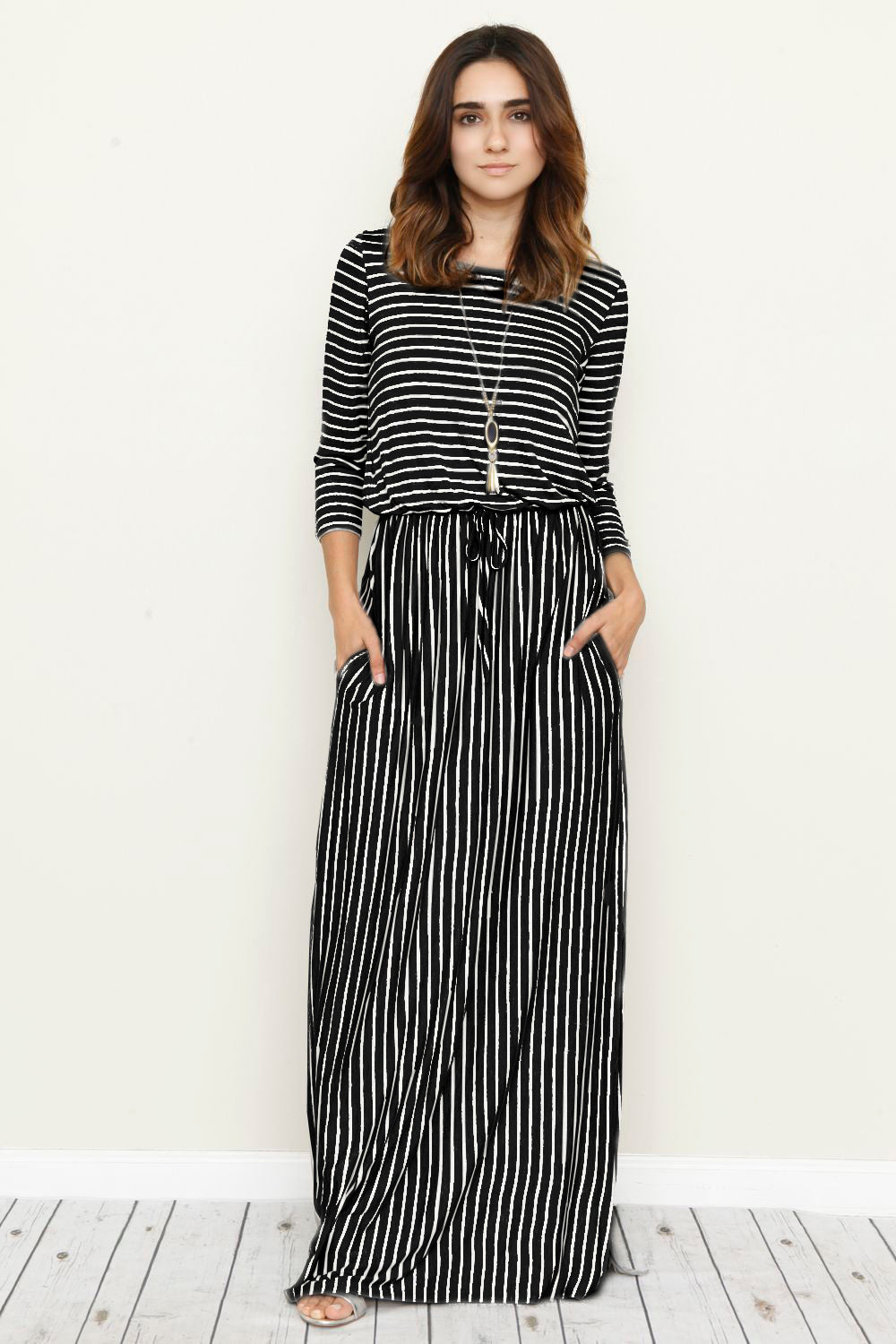 Black Stripe 3/4 Sleeve Side Slit Maxi Dress