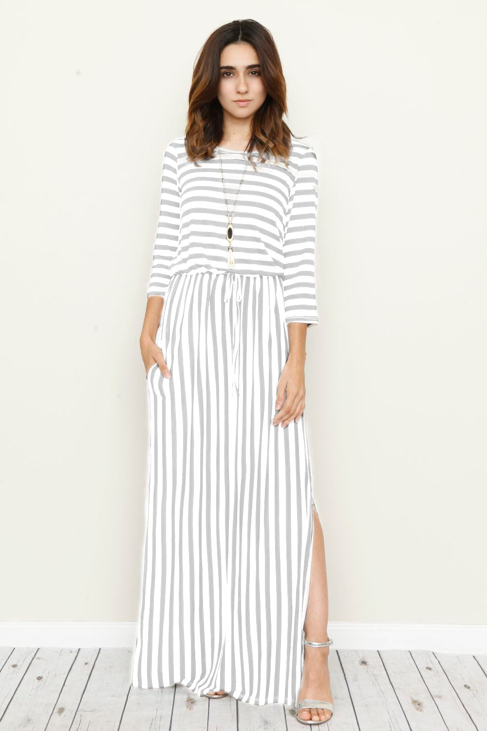 Grey Stripe 3/4 Sleeve Side Slit Maxi Dress