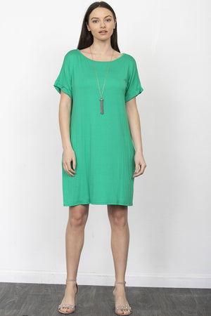 Kelly Green Cuff Sleeve Shift Mini Dress