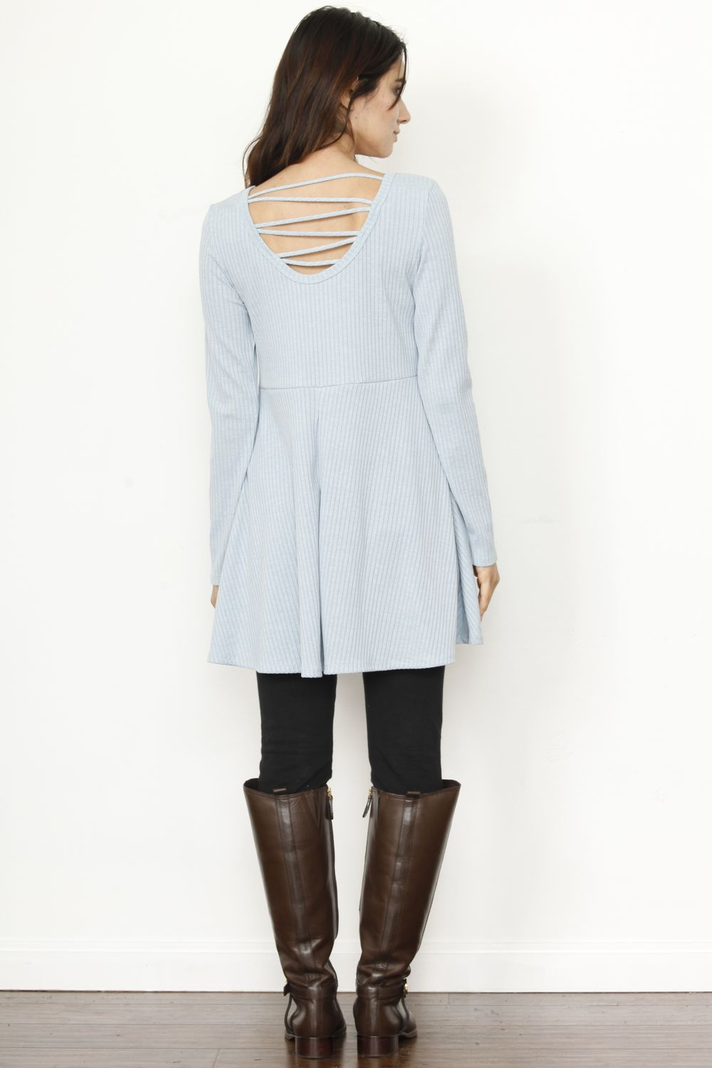 Blue Ribbed Zig Zag Back Tunic