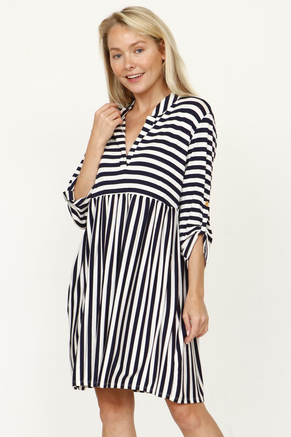 Navy Stripe Notch Neck Tap Sleeve Empire Waist Tunic