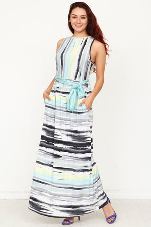 Water Color Multi Stripe Sash Maxi Dress_Plus