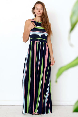 Navy & Neon Multi Stripe Maxi Dress