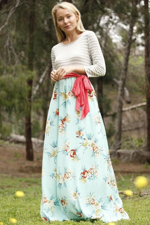Grey Stripe 3/4 Sleeve Mint Floral Maxi Dress with Coral Sash
