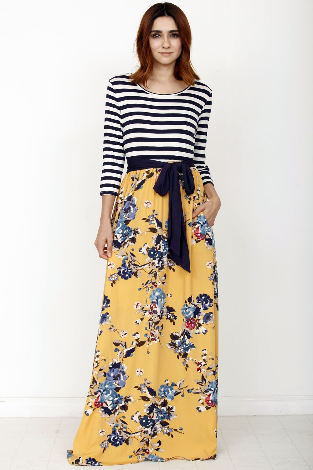 Stripe Mustard Floral Navy Sash Maxi Dress