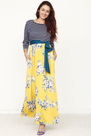 Stripe Green Sash Floral Maxi Dress_Plus