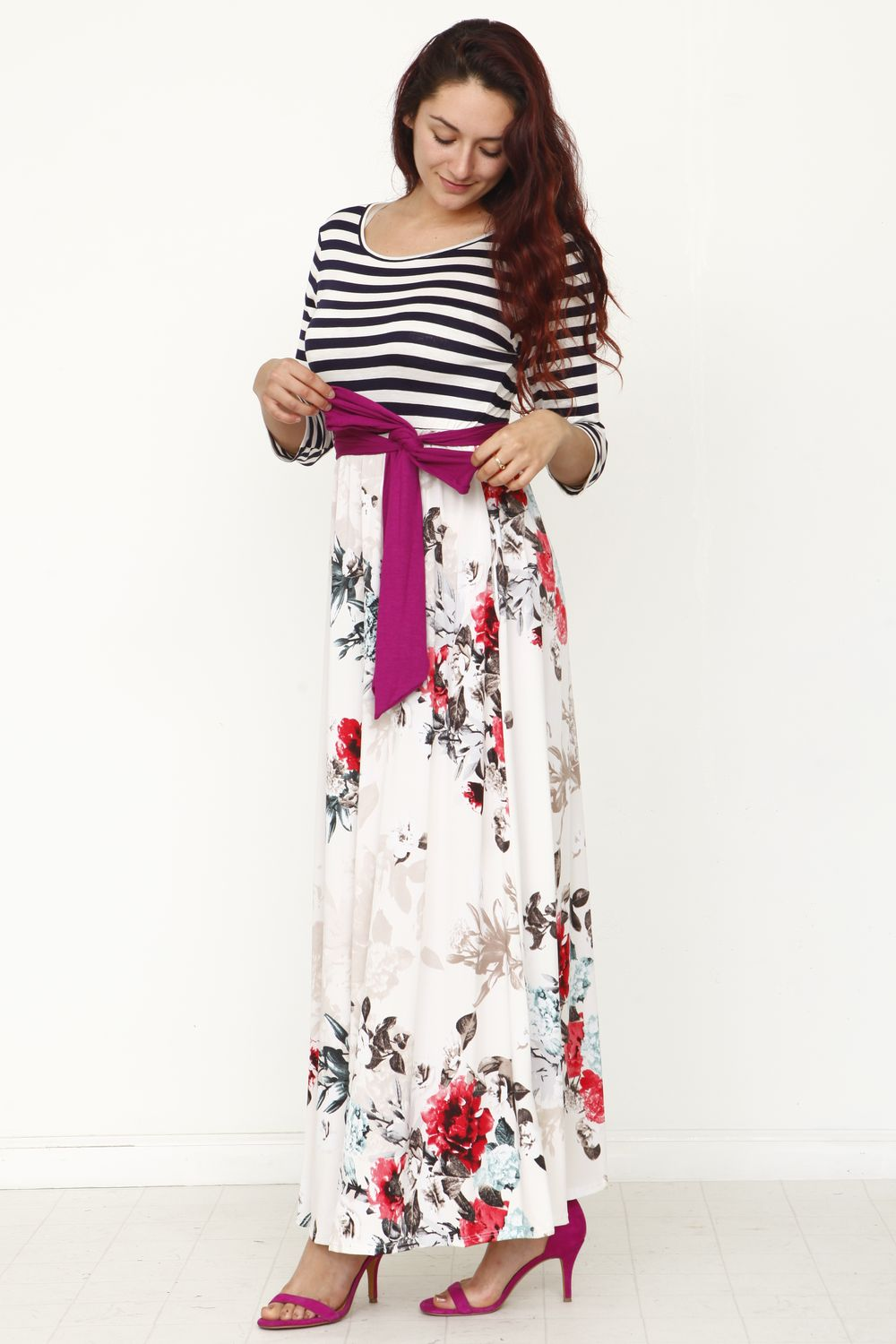 Magenta Sash Floral Maxi Dress_Plus