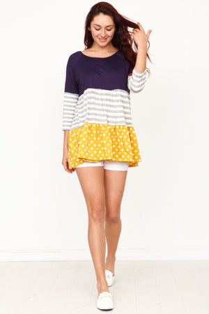Navy & Yellow Polka Dot 3/4 Sleeve Tiered Tunic _Plus